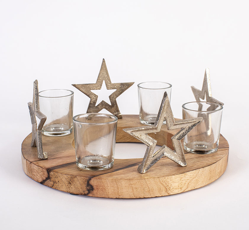 Advent Candle Holder With Stars
