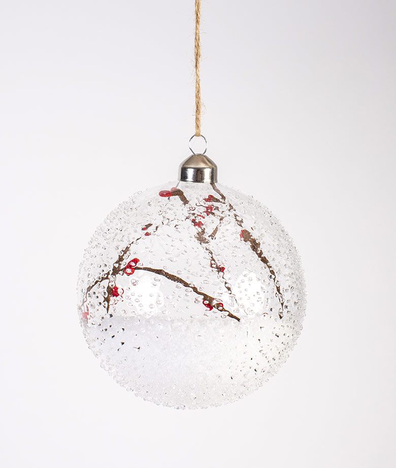 Glass Bauble Snow Berry
