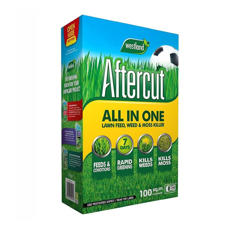 Aftercut All In One Lawn Feed, Weed & Moss Killer 100m²