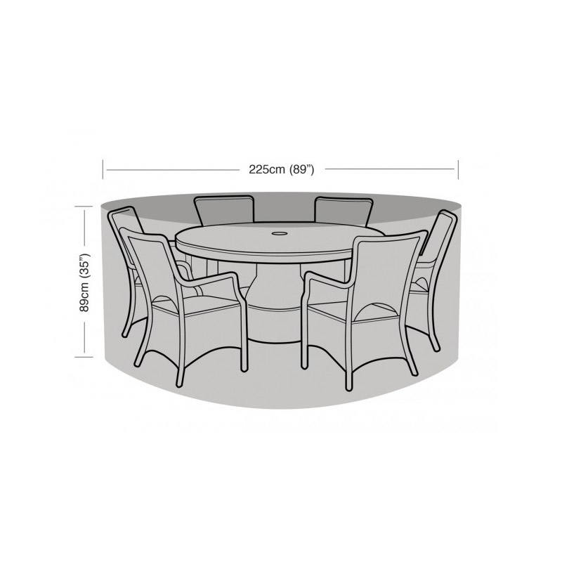 6 Seater Round Furniture Set Cover Black