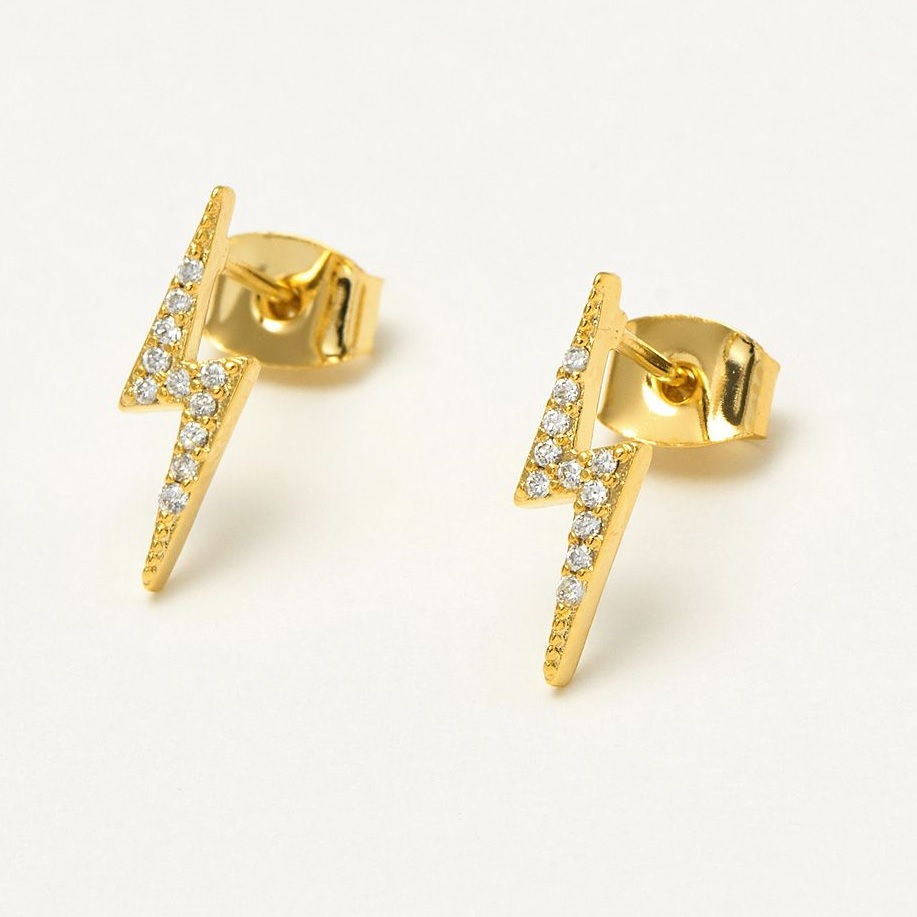 Lightning Bolt CZ Earrings