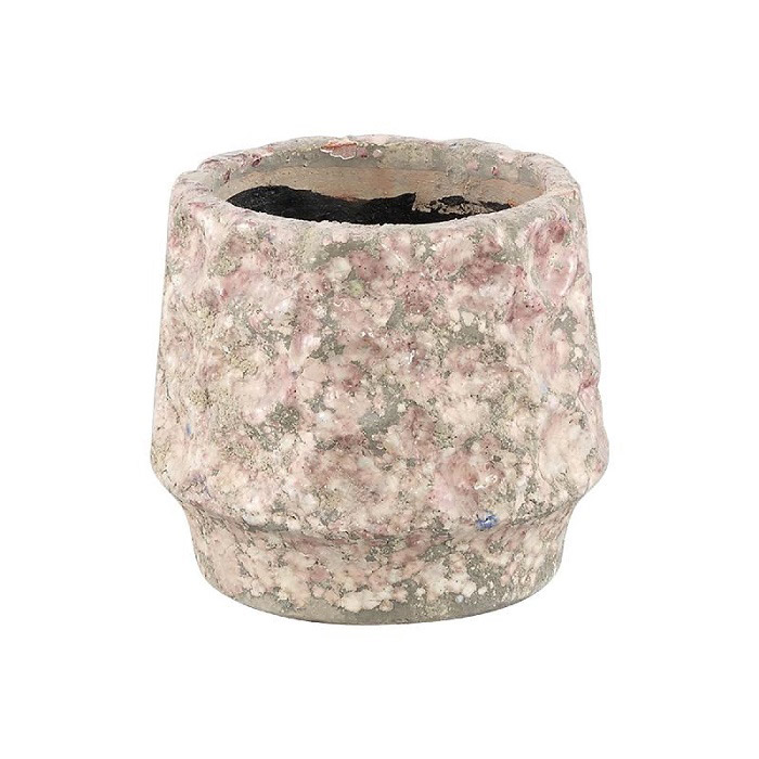 Delina Light Pink Ceramic Pot Circles Round (Small)