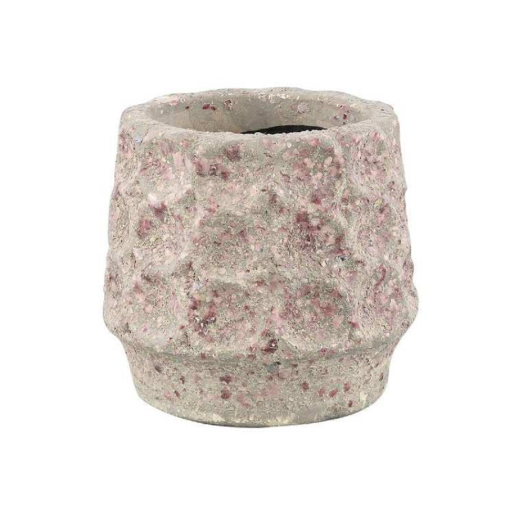 Delina Light Pink Ceramic Pot Circles Round (Large)