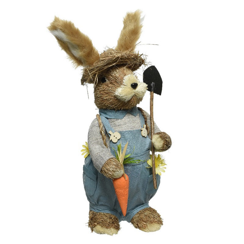 Grass Easter Bunny with Flowers 48cm