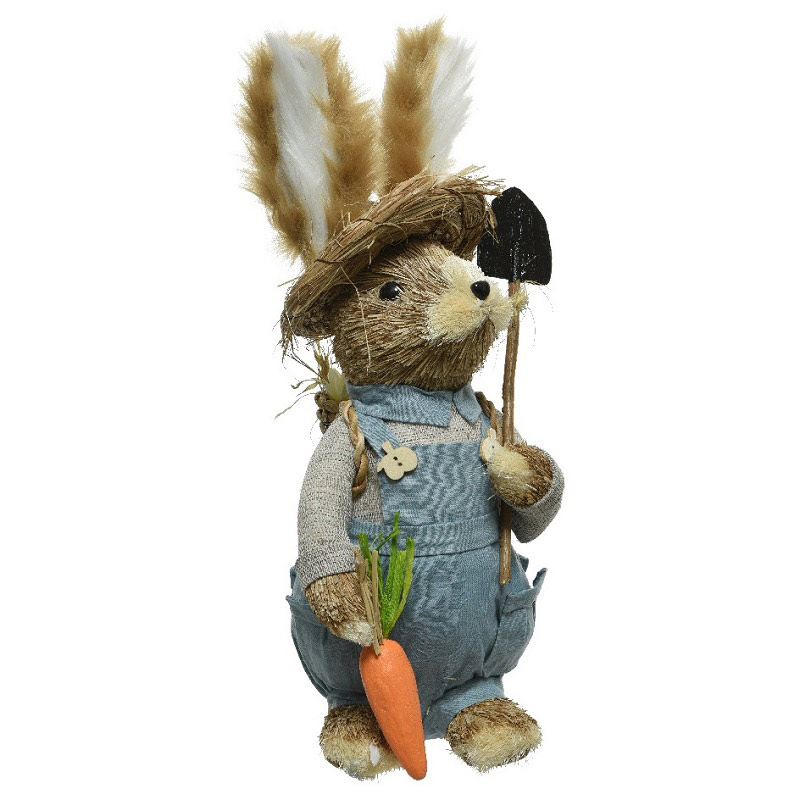 Grass Easter Bunny with Hat 37cm