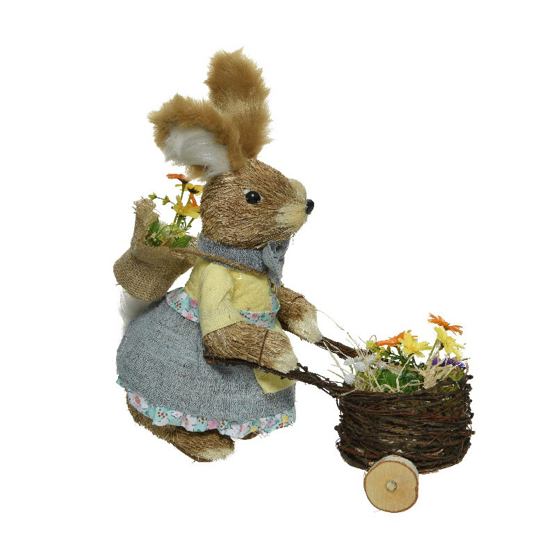 Grass Easter Bunny with Flowers 37cm