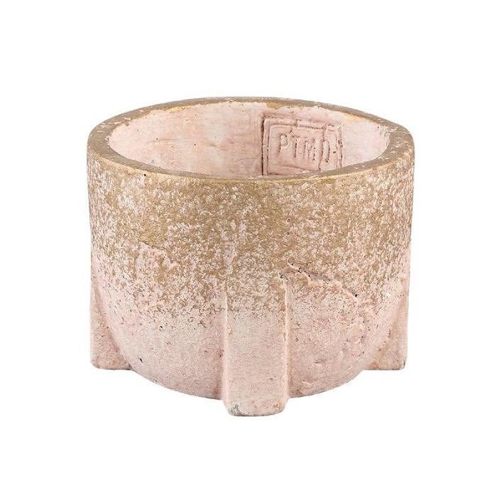 Amira Pink Cement Pot Square Base Round S