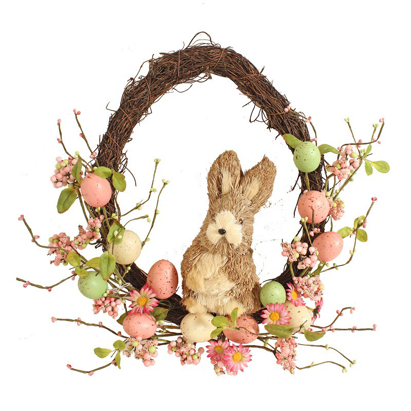 Pink Pastel Rabbit Egg Wreath 42cm