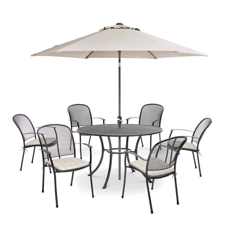 Caredo 6 Seat Dining Set Stone