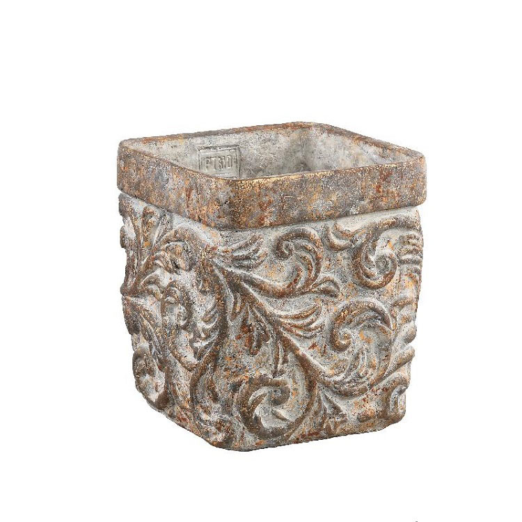 Rosana Antique Cement Pattern Pot Square (XS)
