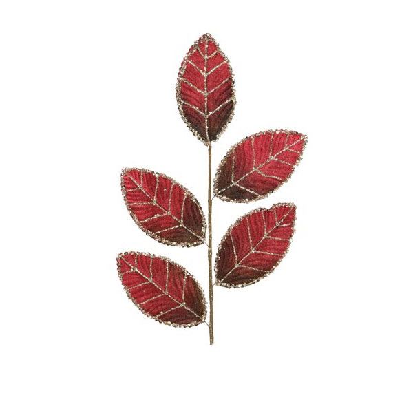Red Velvet Leaf with Glitter