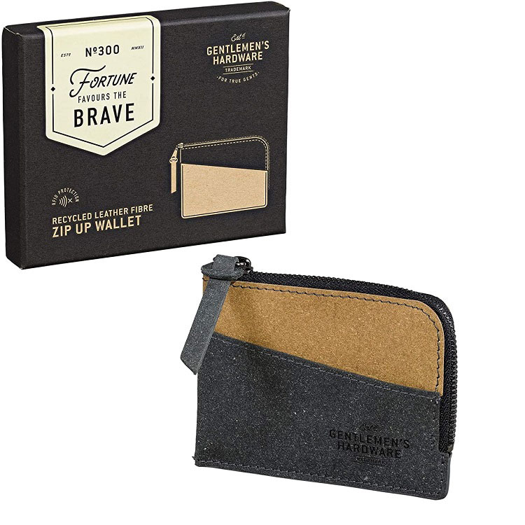Zip Up Wallet Recycled Leather (Black & Tan)