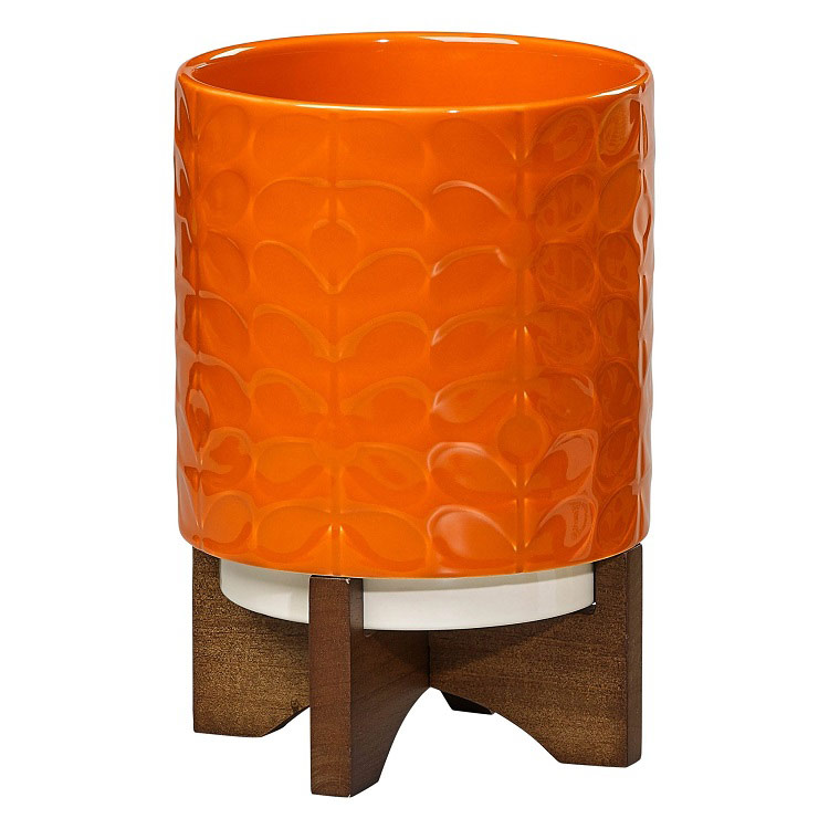 Ceramic Plant Pot with Wooden Stand - Poppy