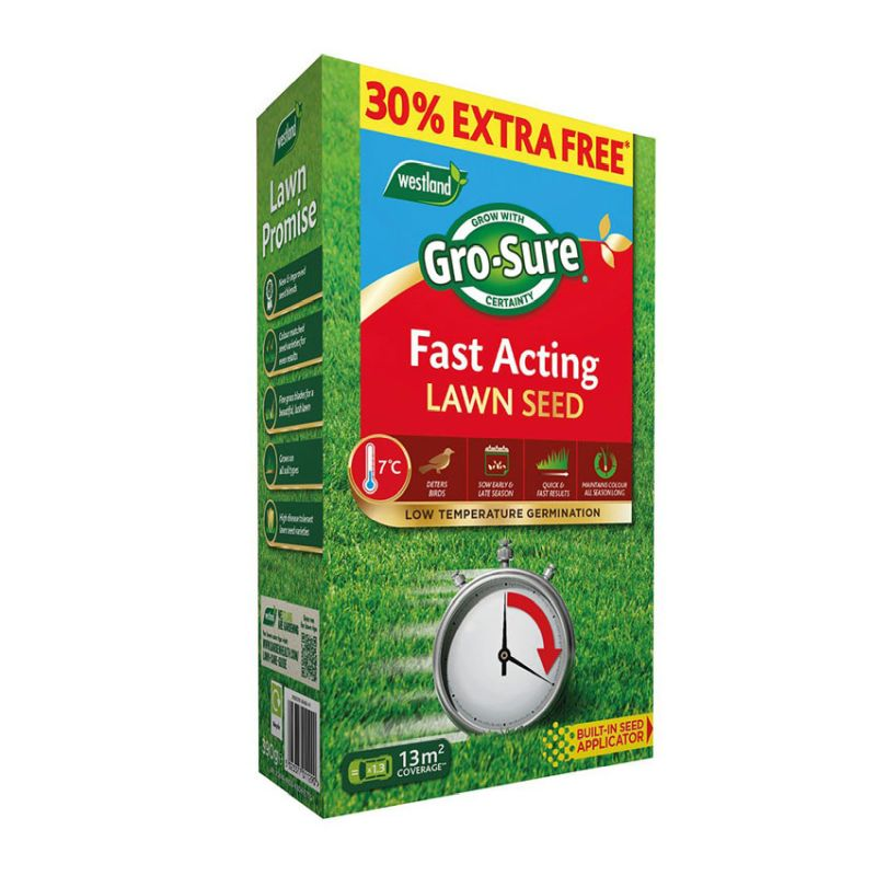 Gro-sure Fast Acting Lawn Seed 10m² + 30% Extra Free