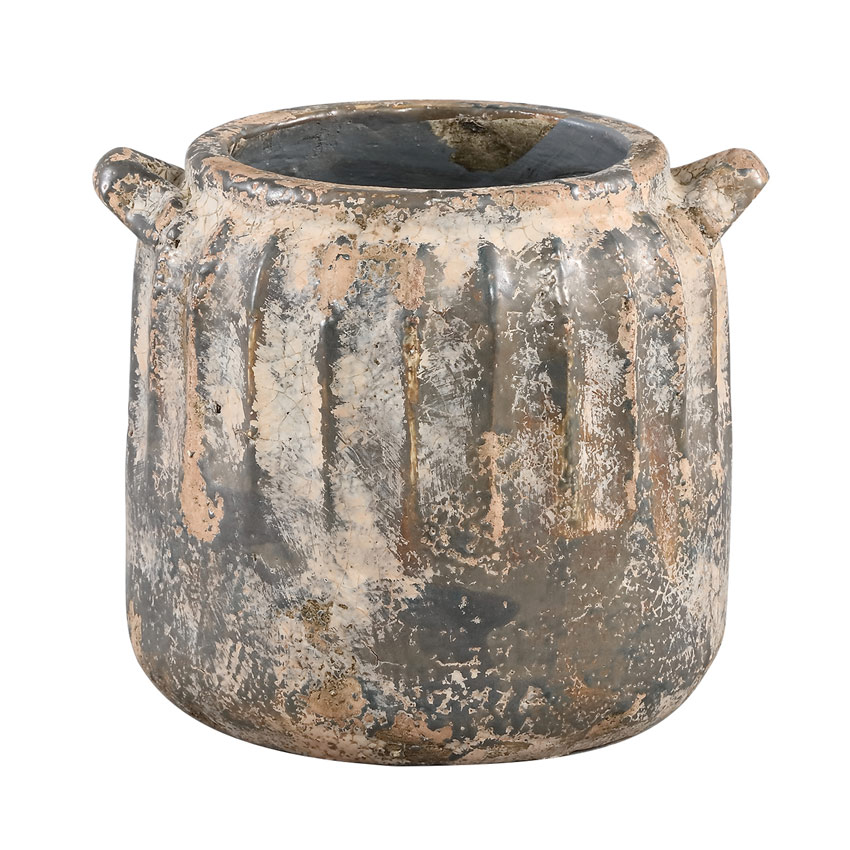 Abuja Grey Ceramic Pot Straight (Medium)