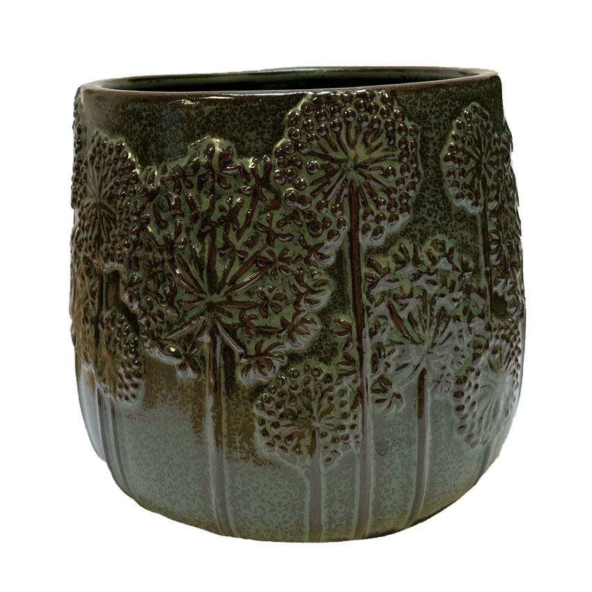 Criss Green Glazed Ceramic Pot Medium