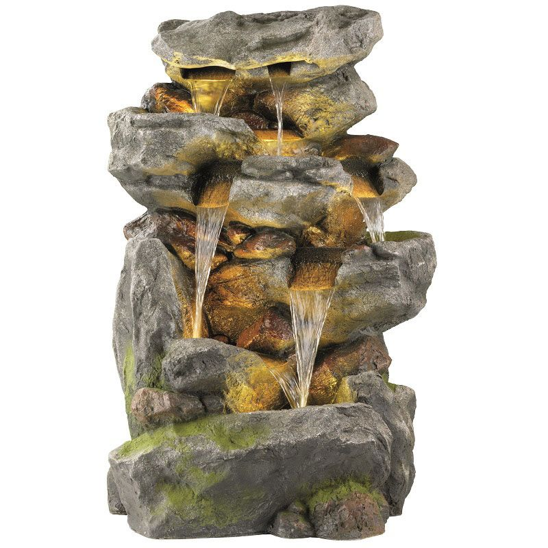 LED Poly Five Tier Rock Fountain