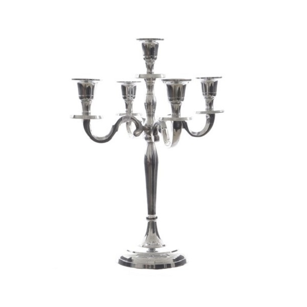 Aluminium Candle Holder 5 Arms Silver