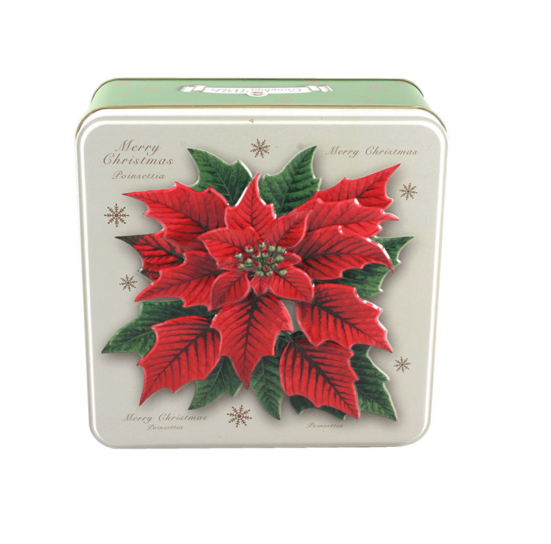 Embossed Poinsetta Biscuit Tin 160g