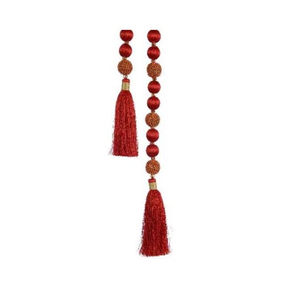 Garland with Beads Christmas Red 94cm