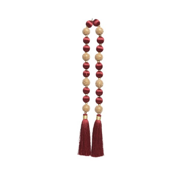 Garland with Golden Beads Oxblood
