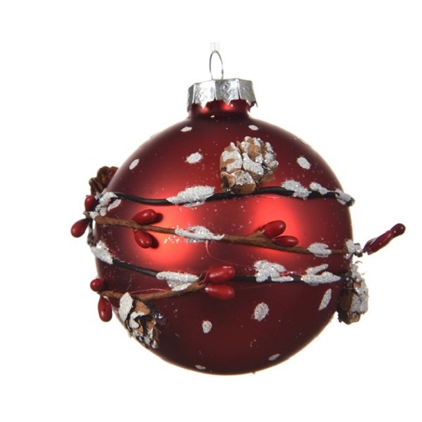 Glass Bauble with Pinecone Red