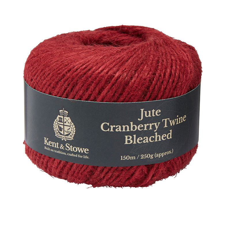 Jute Twine Bleached Cranberry 150m 250g