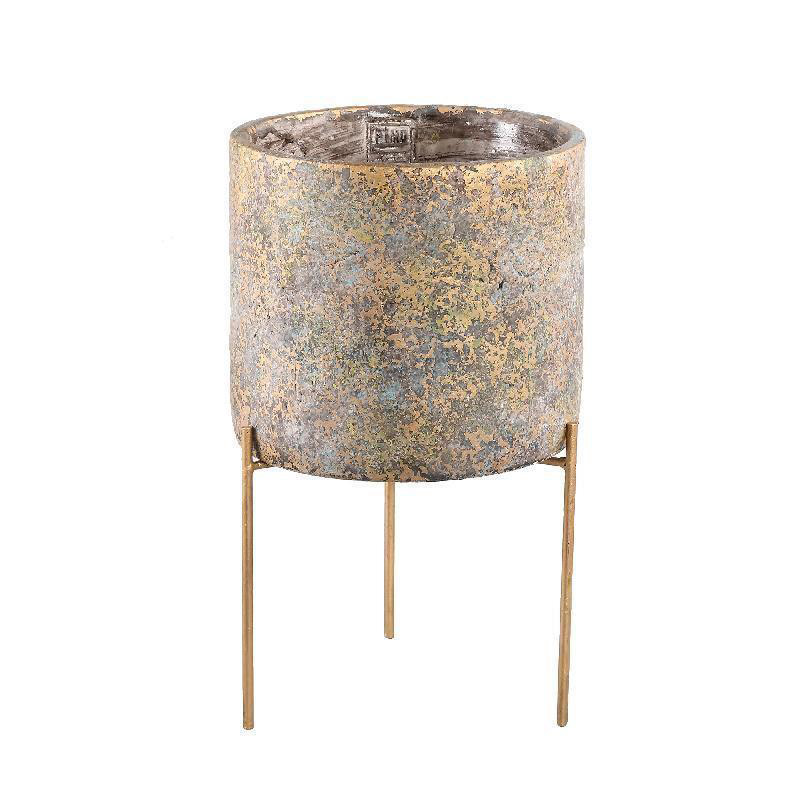 Krizz Gold Cement Pot Iron Legs (Small)