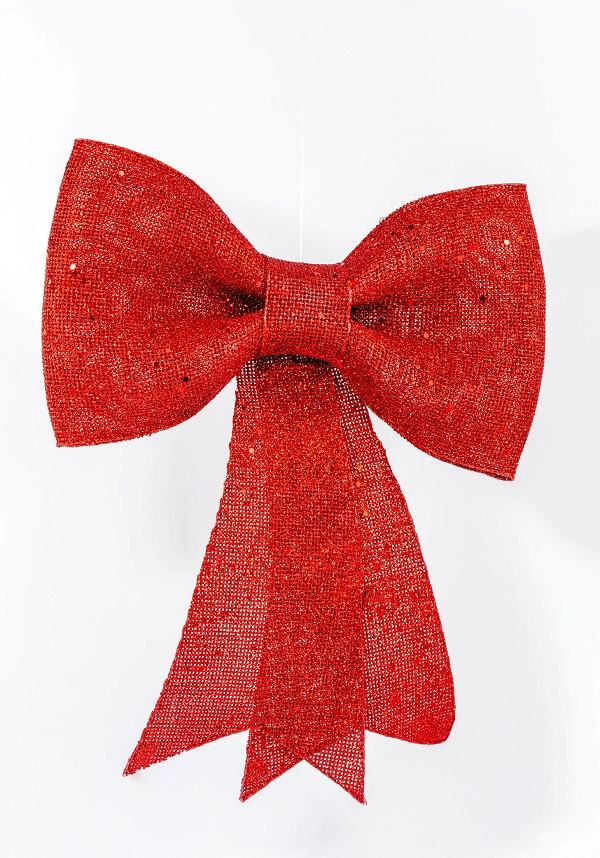 Plastic Bow with Glitter & Hanger Red 31cm