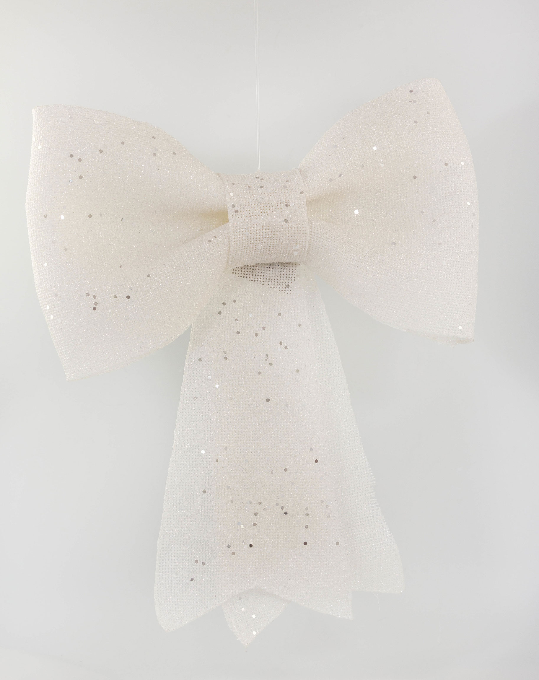 Plastic Bow with Glitter and Hanger White 42cm