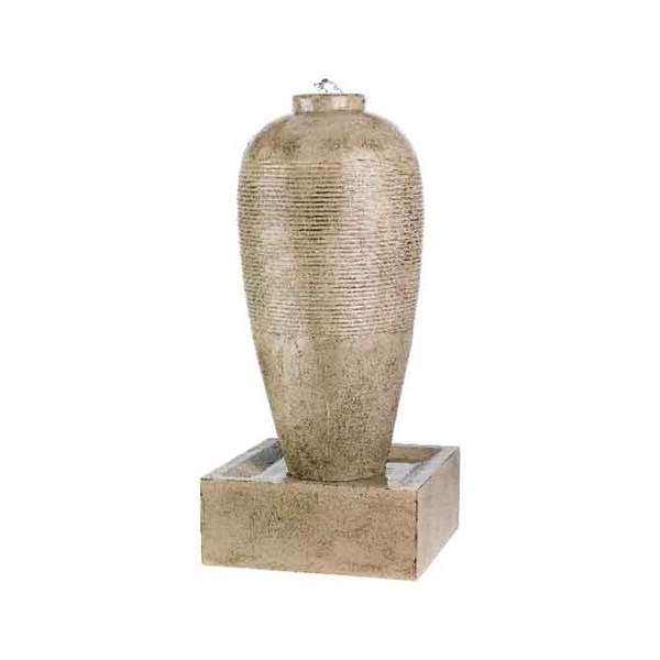 Slim Jar Ribbed Fountain Outdoor Antique Beige