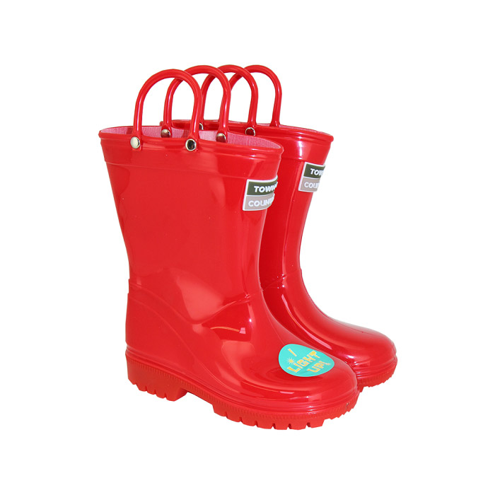 Kids Light Up Wellies Red - Size 10