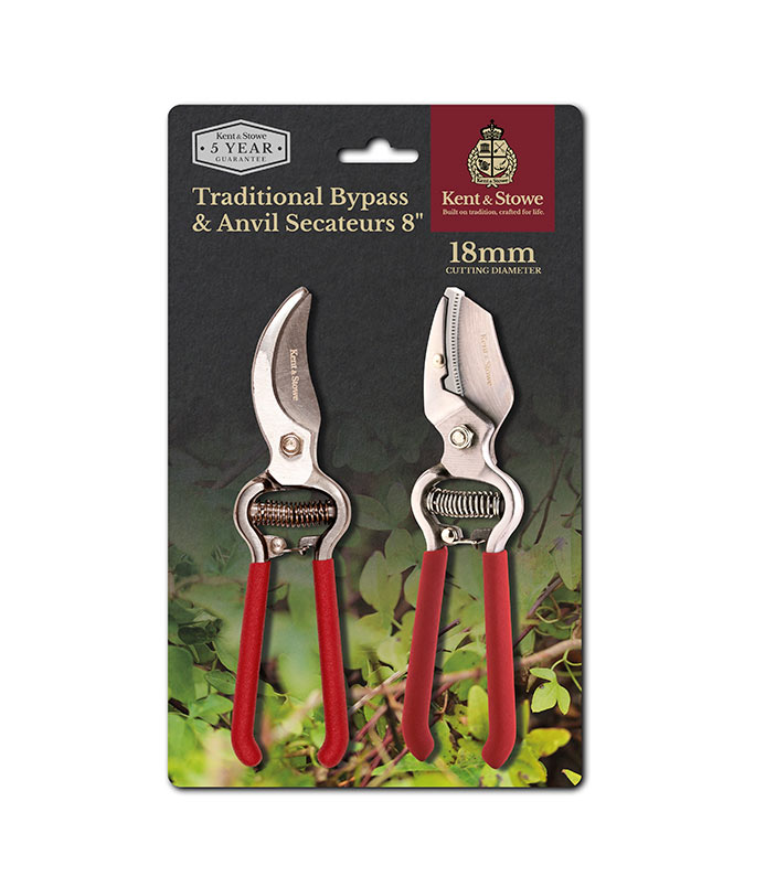 Traditional Bypass and Anvil Secateurs