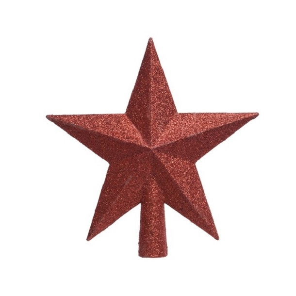 Tree Top Star Glitter Christmas Red