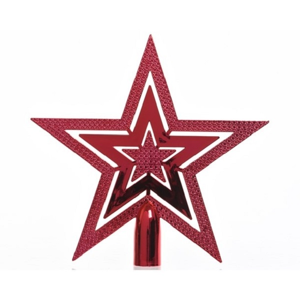 Tree Top Star Shiny Christmas Red