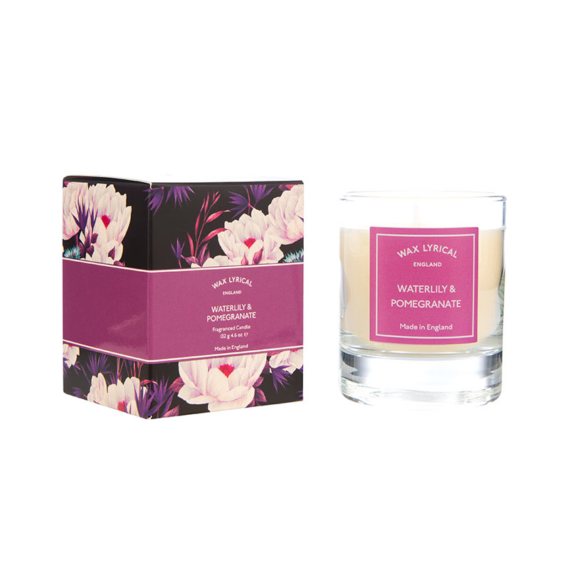 Waterlilly & Pomegranate Glass Candle