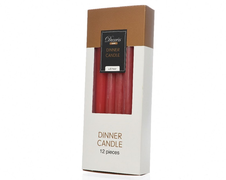 Wax Dinner Candle 12pk Red