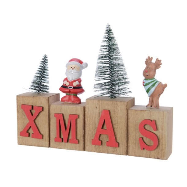 Pinewood Xmas Decoration Text Red