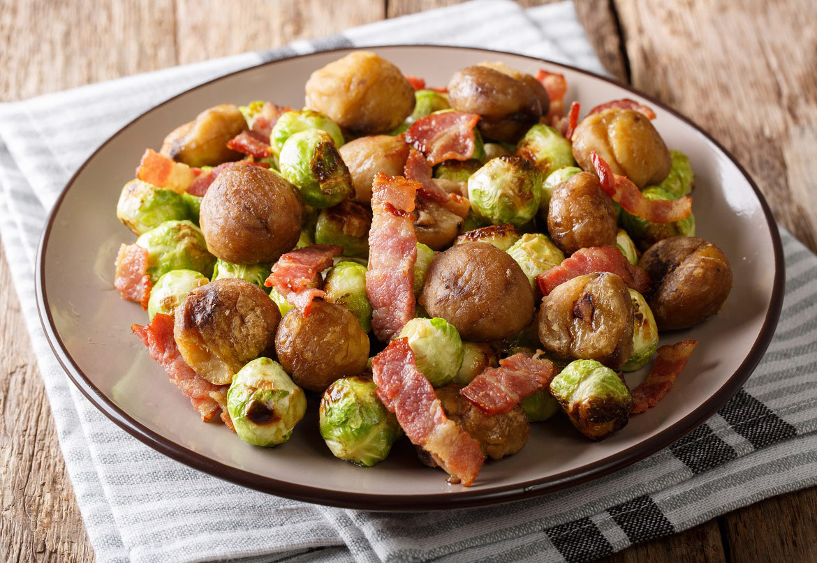 Srouts with Bacon and Chestnuts