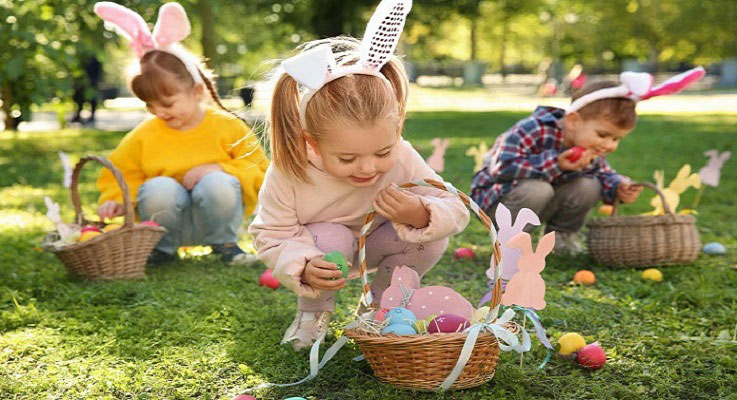 children collecting easter eggs