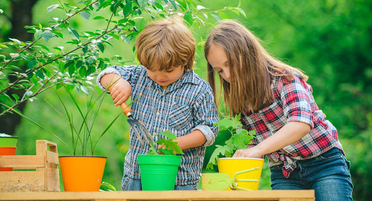 children planting seeds in pots