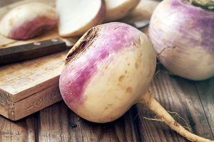 turnips on wooden board