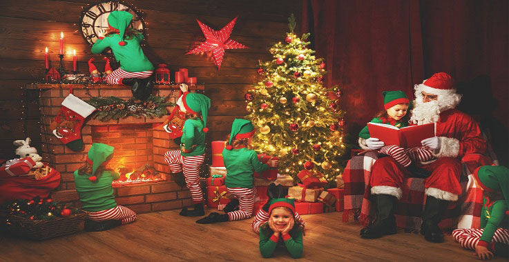 Santa with elves in house