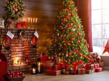 Christmas Tree at Fireplace