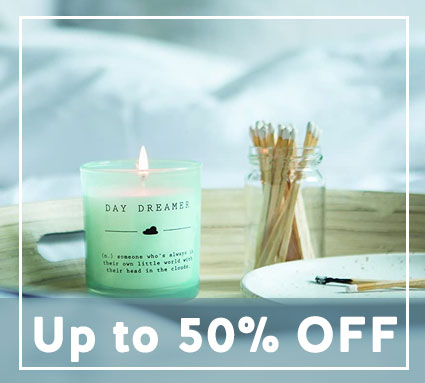Up to 50% off candles and diffusers